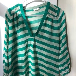 Joie green and white striped v neck top